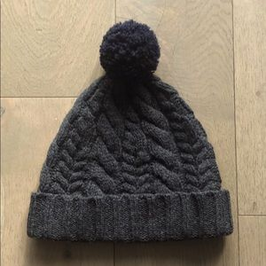 J.Crew Lambswool Cableknit Beanie with PomPom